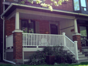 Typical Toronto porch where Torontonians like to laze away hot summer days or evenings while chatting with neighbours.