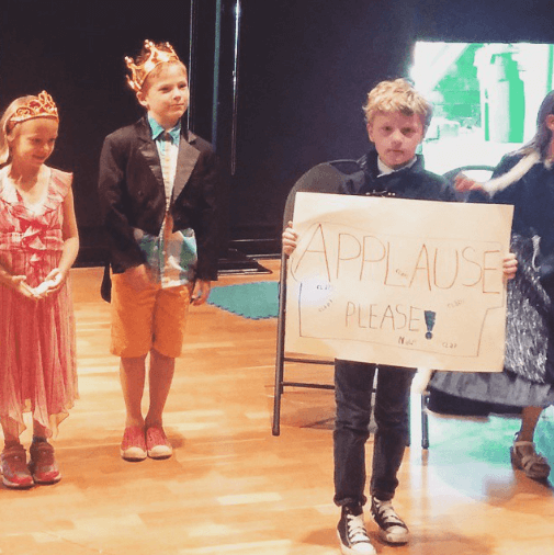 #theatrecarousel 7year old production. From left: Princess (future Reese Witherspoon),  Prince #AxelVal and Cousin Moses as 'the applause guy'.