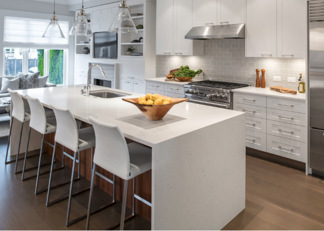 The kitchen area on the Ontario Street project. Designed to host large or small gatherings while still enabling the chef to be part of the party.