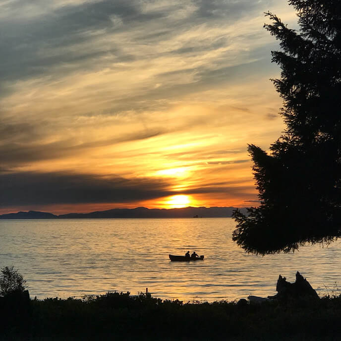 picture by vancouver online interior designer of sunset on sunshine coast